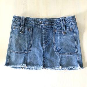Anthropologie cut off light distressed denim skirt
